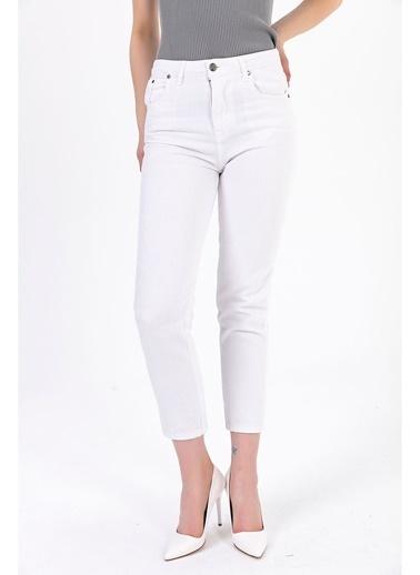 Tiffany&Tomato Yüksek Bel Mom Jean Pantolon - Beyaz Beyaz